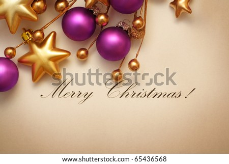 Christmas frame for greeting card with decorative ornaments - stock photo