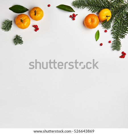 Christmas Frame from Natural Branches and Tangerines