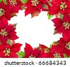 christmas frame from red poinsettias flower  isolated on white - stock photo