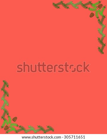 Christmas frame, green fir on red background . - stock photo
