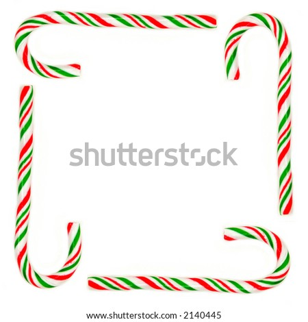 Christmas frame made from candy canes - stock photo