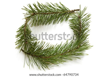 Christmas frame made of pine branches on white background - stock photo
