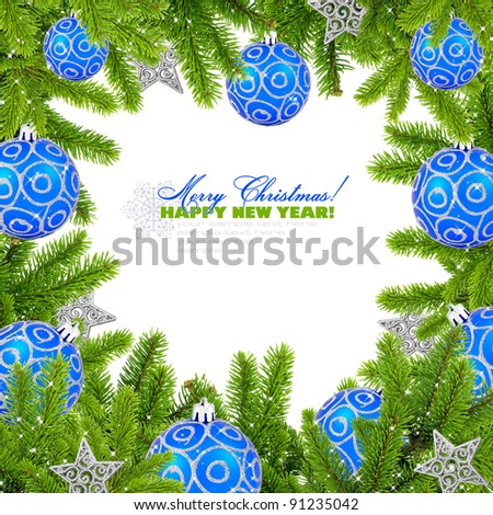 Christmas frame on white with space for text - stock photo