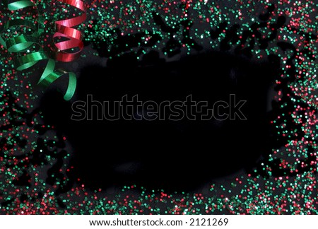 christmas frame over black with ribbons - stock photo