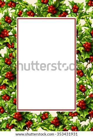 Christmas frame with digital hand drawn holly berries