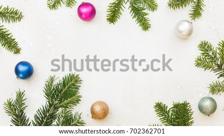 Christmas Frame Fir Branches Baubles On Stock Photo (Royalty Free ...