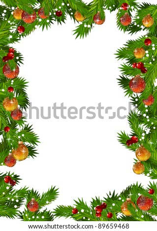 Christmas frame with fir branches and gold and red balls. Raster version.