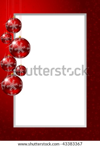 christmas frame with glass balls and stars