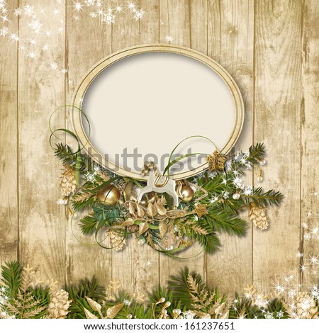 Christmas frame with miraculous garland on a wooden background  - stock photo