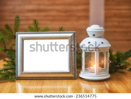 Christmas frame with place for your text and candlestick. - stock photo