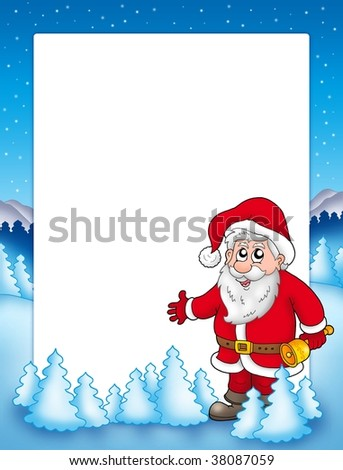 Christmas frame with Santa Claus 3 - color illustration.