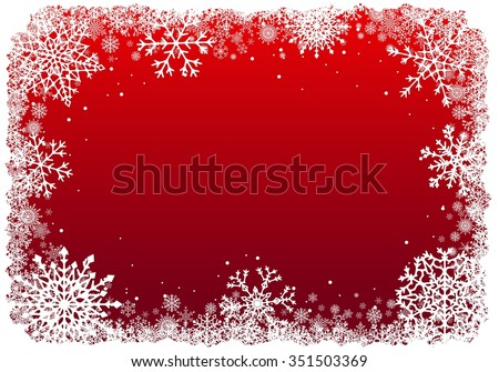 Christmas frame with snowflakes over red background. Raster illustration.