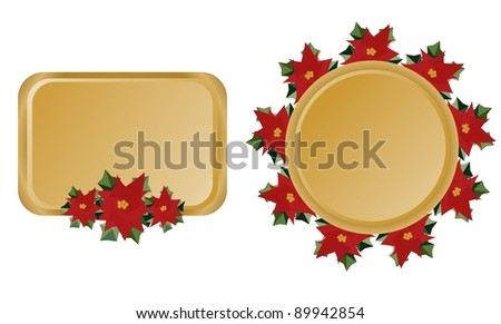 Christmas frames with poinsettia flower/Christmas frames - stock photo