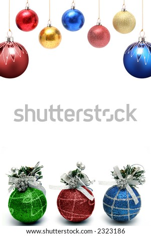 Christmas framework with a set of New Year's spheres of different color and the size vertically - stock photo