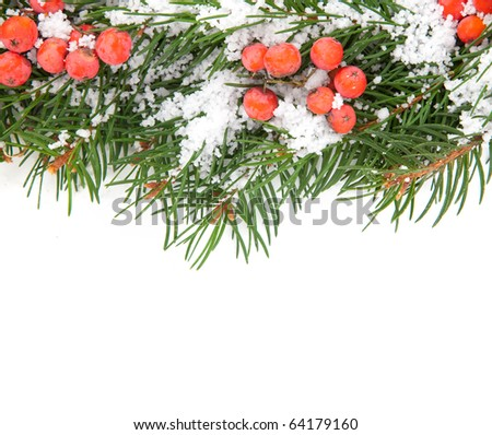 Christmas framework with snow and holly berry isolated on white background - stock photo