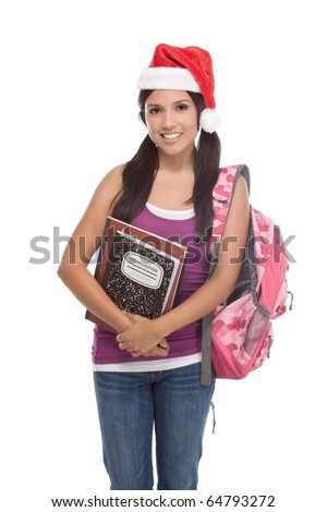 Christmas friendly Latina High school student schoolgirl wearing red Santa Claus hat with backpack - stock photo