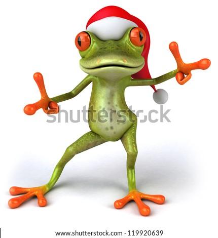 Christmas frog - stock photo