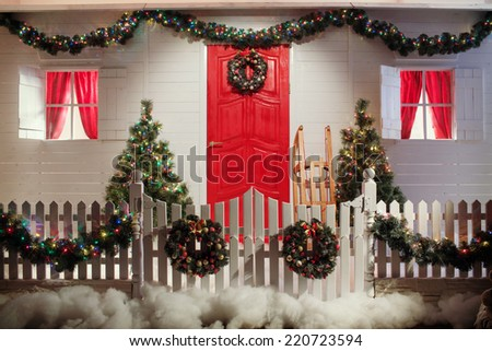 Christmas Front Door Country House Background Stock Photo Royalty