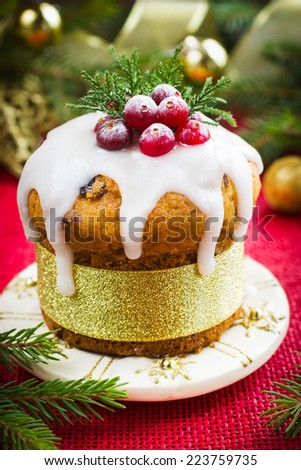 Christmas fruit cake decorated with icing and berries - stock photo