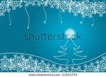 Christmas fur-tree against snowflakes - stock photo