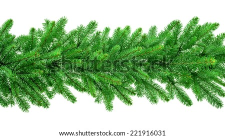 christmas garland isolated on white background - stock photo