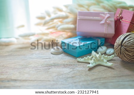 Christmas garland on rustic wooden background with copy space - stock photo
