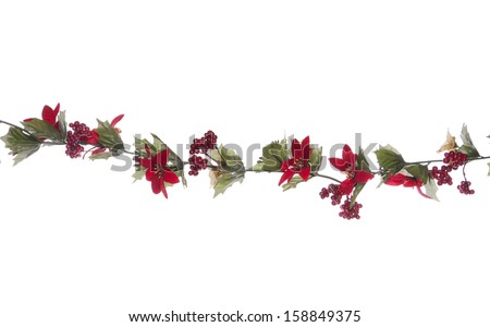 Christmas garland studio cut out - stock photo