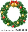 Christmas garland with bells, bauble and holly berry - stock photo