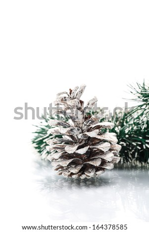Christmas garland with pine cone on white background - stock photo