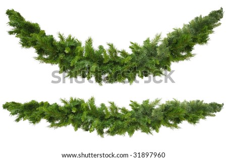 Christmas garlands, curved and straight, isolated on white.  Ready for your own decorations. - stock photo