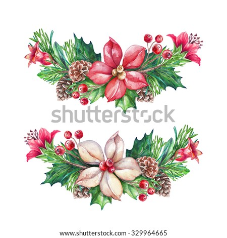 Christmas garlands design elements, holiday floral clip art, watercolor illustration isolated on white background - stock photo