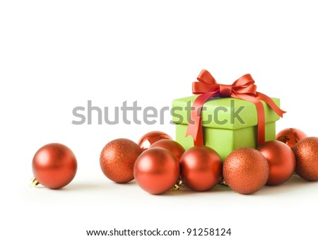 Christmas gift and balls - stock photo
