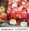 christmas gift and different decorations to the holiday - stock photo