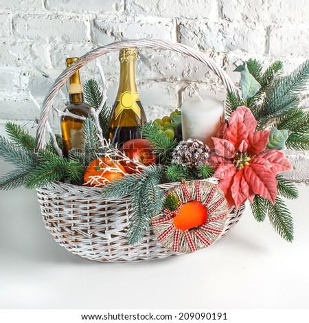 Christmas gift basket  - stock photo