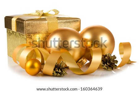 christmas gift box and baubles isolated on white background - stock photo
