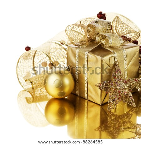 Christmas Gift box and decorations - stock photo