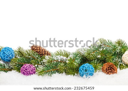 Christmas gift box and snow fir tree. Isolated on white background with copy space