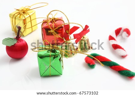 christmas gift box bell candy toy isolated on white background