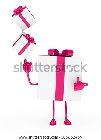 christmas gift box figure pink white balance