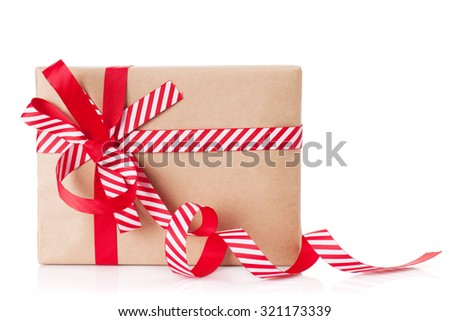 Christmas gift box. Isolated on white background - stock photo