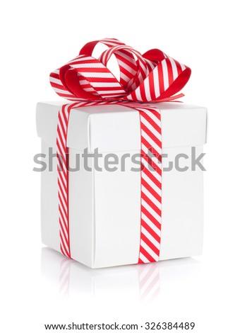 Christmas gift box. Isolated on white background - stock photo
