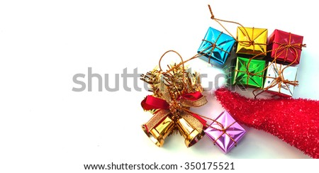 Christmas gift box isolated on white background with clipping path. - stock photo