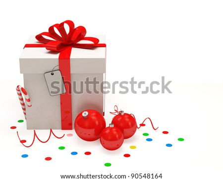 Christmas Gift Box on white background - stock photo