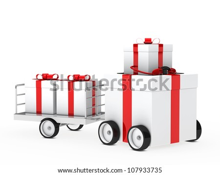 christmas gift box red white vehicle drive