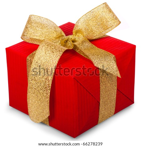 christmas gift box with a gold ribbon bow,  isolated on white background - stock photo