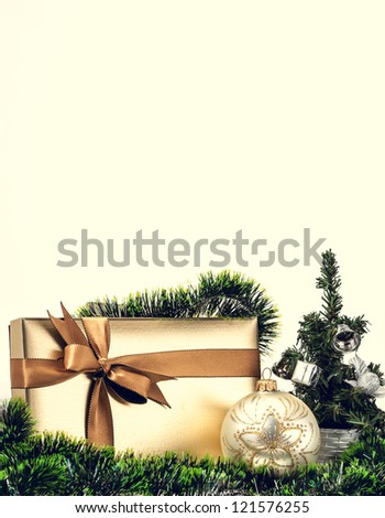 Christmas gift box with a nice decoration - stock photo