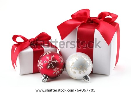 Christmas Gift Box with bauble. - stock photo