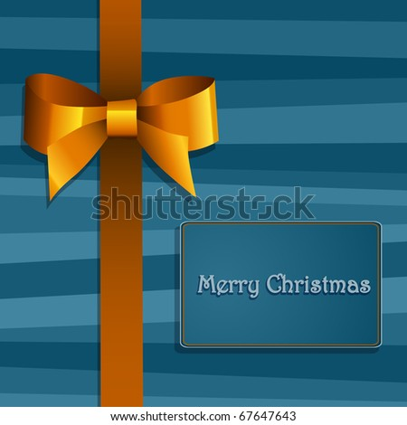 Christmas gift box with  bow - stock photo