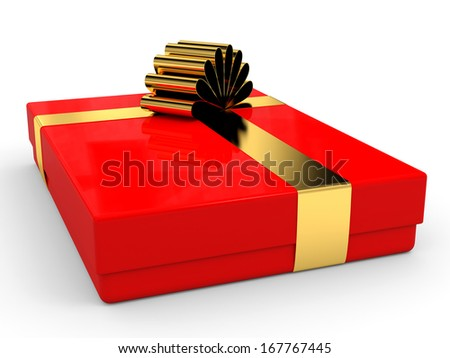 Christmas gift box with bow. 3D illustration.