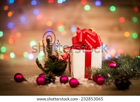 Christmas gift box with Christmas decorations and snow cones